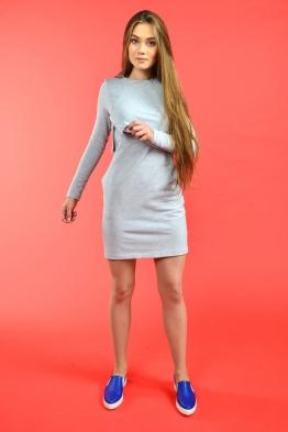 Платье для кормящих мам COZY MA серое, Мини