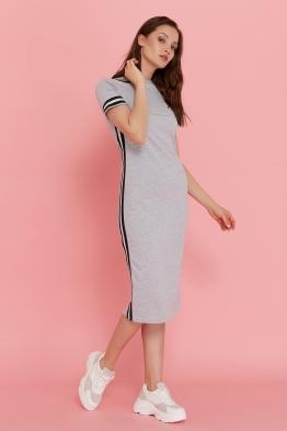 Платье для кормящих мам летнее Pure Ma серый меланж