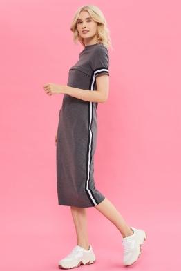 Платье для кормящих мам летнее Pure Ma антрацитовое