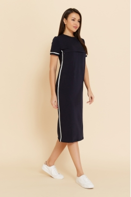 Платье для кормящих мам летнее Pure Ma темно-синее