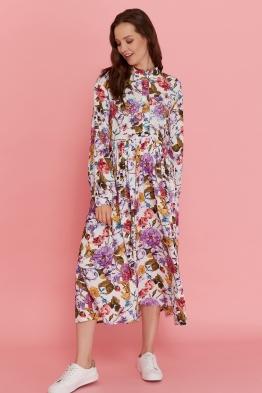 Платье для беременных и кормящих мам My Flower белое (с цветами)