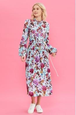 Платье для беременных и кормящих мам My Flower колотый лед (с цветами)