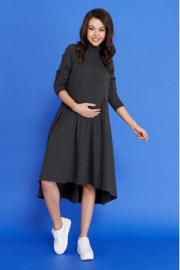 Платье-трапеция для беременных и кормящих мам My Fabby антрацитовое