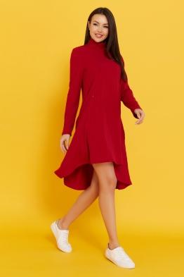 Платье-трапеция для беременных и кормящих мам My Fabby красное миди