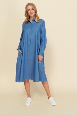 Платье для беременных и кормящих мам Romantic Ma светло-джинсовое
