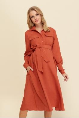 Платье для беременных и кормящих мам Romantic Ma терракотовое