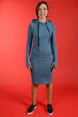 Платье для кормления Hoodie MA синее, Миди