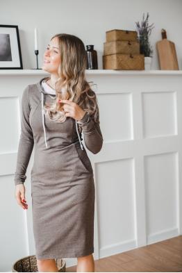 Платье для кормящих мам Hoodie Ma коричневое