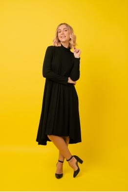 Платье-трапеция для беременных и кормящих мам My Fabby черное (ОБРАЗЕЦ)