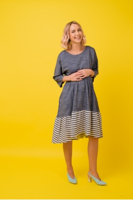 Платье для беременных и  кормящих мам Glow Me синее с полосками (ОБРАЗЕЦ)