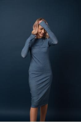 Платье для кормящих мам Pure Ma синее (ОБРАЗЕЦ)