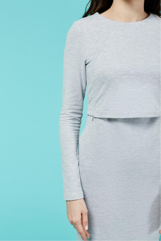 Платье для кормящих мам Cozy Ma серое миди