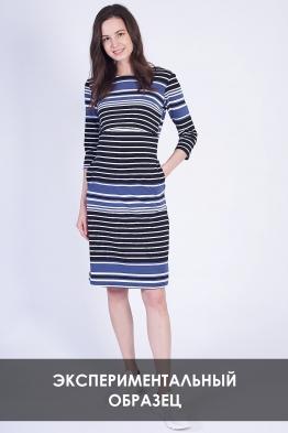 ОБРАЗЕЦ Платье миди в белое в черно-серо-белую полоску