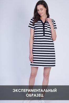 ОБРАЗЕЦ Платье-поло для кормящих в черно-белую полоску