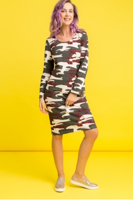Платье для беременных и кормящих мам Army Ma камуфляж бордо