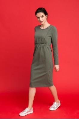 Платье для беременных и кормящих мам City Ma хаки