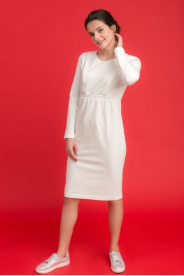 Платье для беременных и кормящих мам City Ma молочное