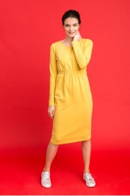 Платье для беременных и кормящих мам City Ma горчичное