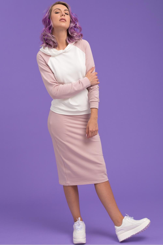 Летнее худи для кормящих мам Swanky Ma розовый, молочный