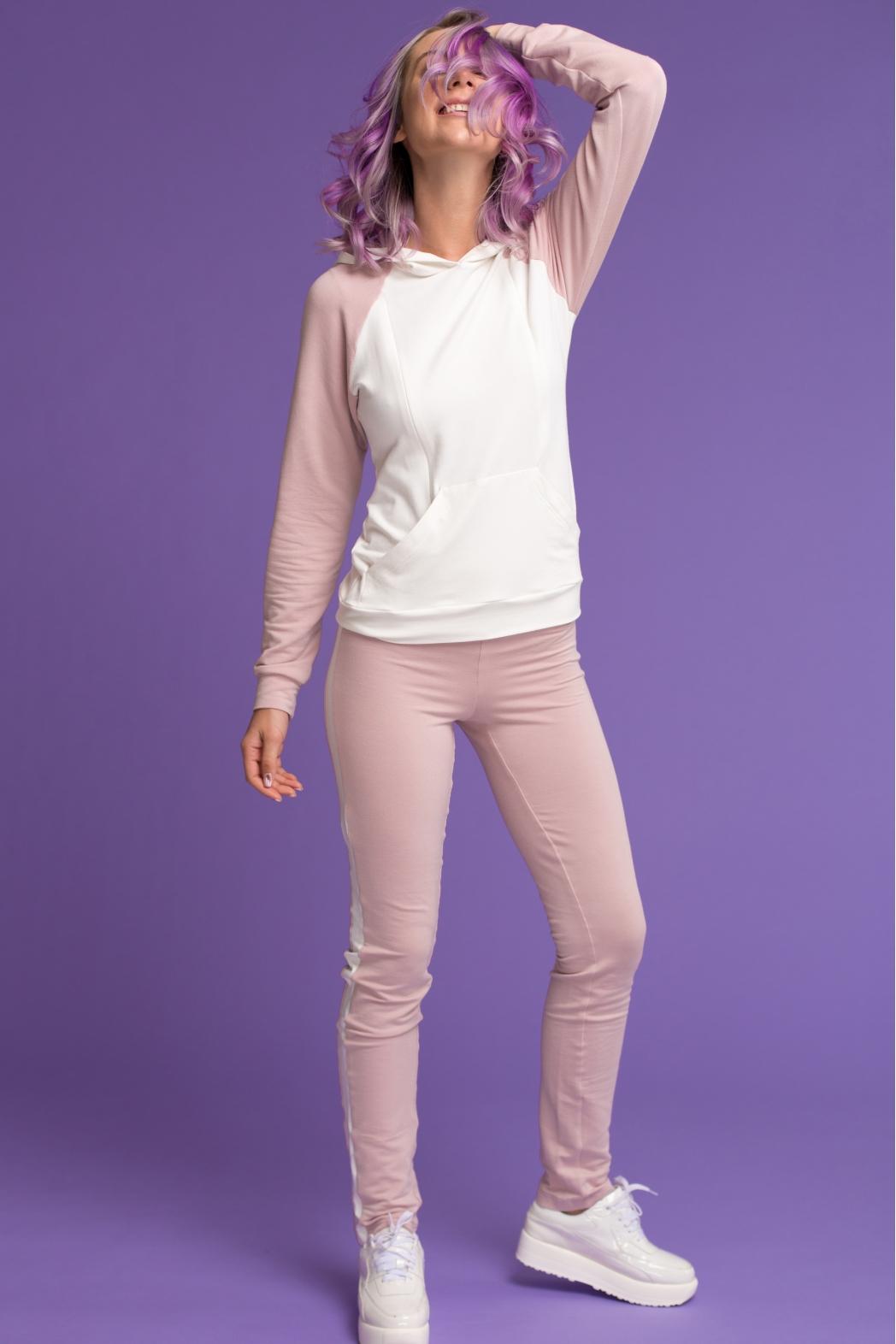 Летний костюм для кормящих мам Swanky Ma розовый, молочный