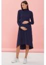 Платье-трапеция для беременных и кормящих мам My Fame темно-синее