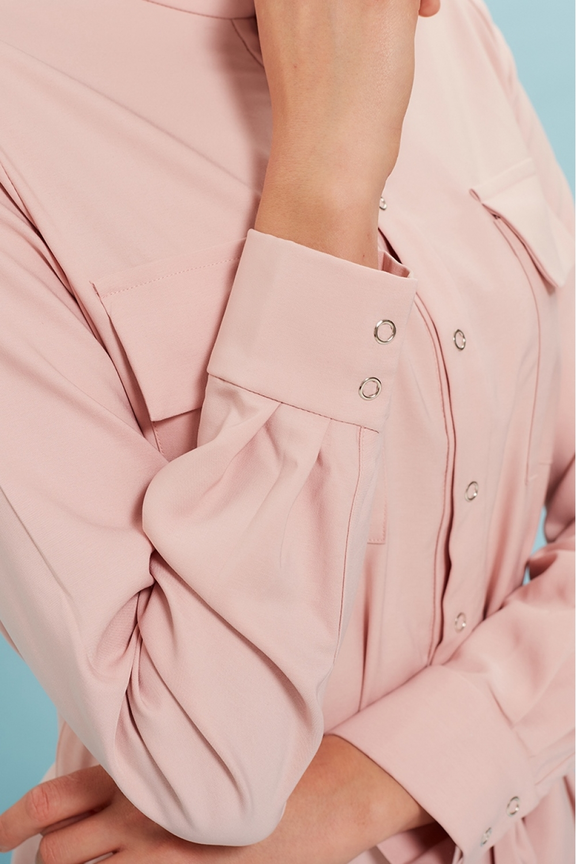 Платье-рубашка для кормящих мам My Summer пудрово-розовое