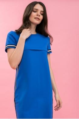 Платье для кормящих мам летнее Pure Ma синее (ОБРАЗЕЦ)