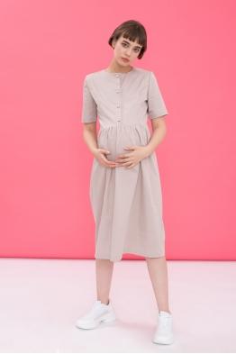Платье для беременных и  кормящих мам Classy Ma бежевое (ОБРАЗЕЦ)