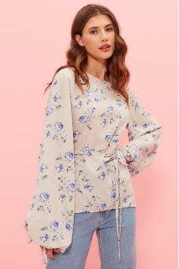 Блузка для беременных и кормящих мам My Femininity бежевая (голубые цветы)