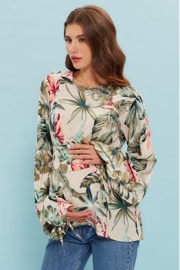 Блузка для беременных и кормящих мам My Femininity бежевые листья