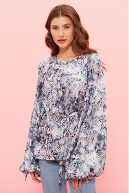 Блузка для беременных и кормящих мам My Femininity серо-голубая (цветы)