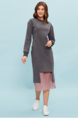 Платье для кормящих мам Sporty Ma антрацитовое