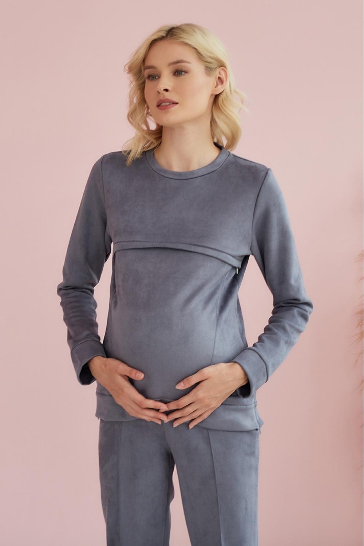 Свитшот для беременных и кормящих мам Gentle Ma серый