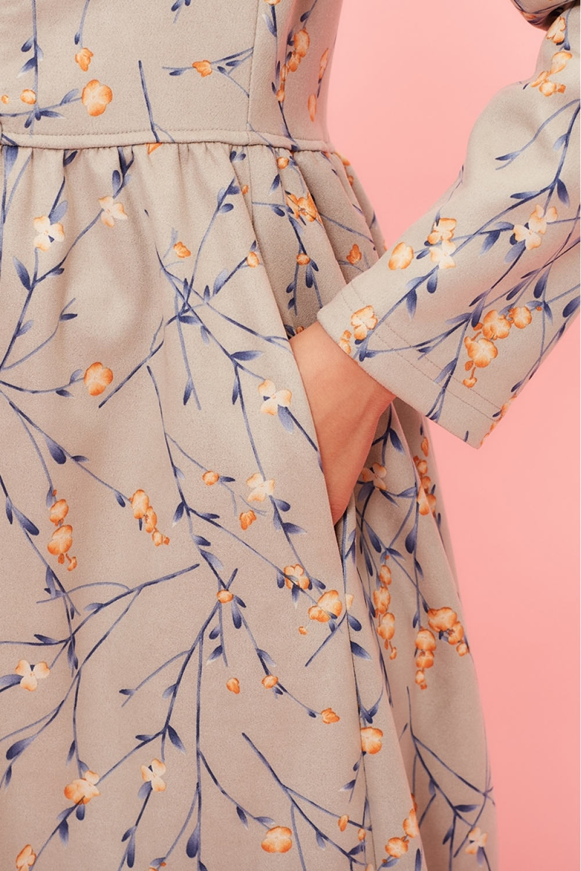 Платье для беременных и кормящих мам My Bell бежево-серое (цветы)