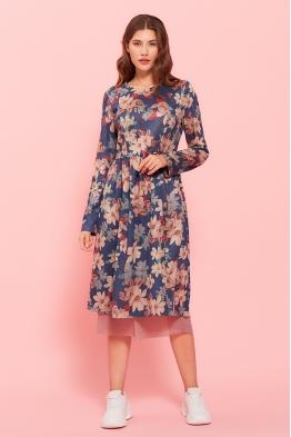 Платье для беременных и кормящих мам My Bell принт (синие цветы)