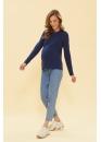 Лонгслив для беременных и кормящих мам Basic Ma джинсовый (темно-синий)