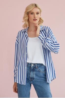 Рубашка для беременных и кормящих мам Light Ma в голубую полоску