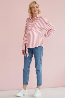 Рубашка для беременных и кормящих мам Light Ma в розовую полоску
