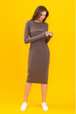 Платье для кормящих мам Pure Ma  коричневое