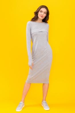 Платье для кормящих мам Pure Ma серое миди