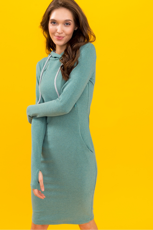 Платье для кормящих мам Hoodie Ma зеленое