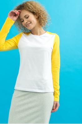 Лонгслив для кормящих мам My Color бело-желтый