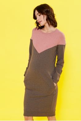 Платье для кормящих мам Follow Ma коричневое (с красным)