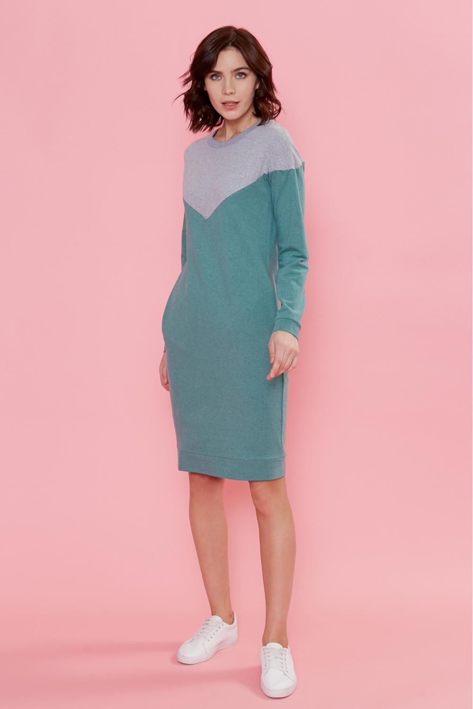 Платье для кормящих мам Follow Ma зеленое (с серым)