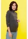 Водолазка для беременных и кормящих темно-серая