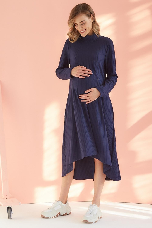 Платье-трапеция для беременных и кормящих мам My Fabby темно-синее