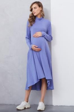 Платье-трапеция для беременных и кормящих мам My Fabby голубое