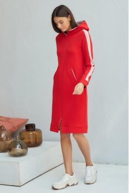 Платье для кормящих мам My Puffy красно-розовое