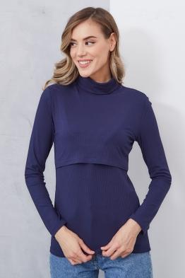 Водолазка для беременных и кормящих темно-синяя